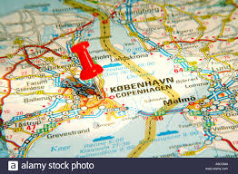 Denmark On World Map by Map Pin Pointing To Copenhagen Denmark On A Road Map Stock Photo