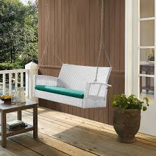 modern white resin wicker outdoor patio porch swing with turquoise