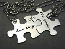 wedding gift necklace king his personalized puzzle