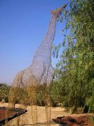 welded steel rods animal wildlife sculpture by