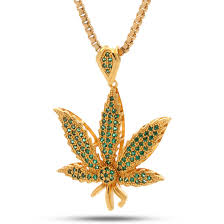 leaf chain necklace images 14k gold green cz weed leaf necklace hip hop pendant king ice jpeg