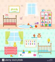 illustration set playrooms for kids baby rooms interior cradle
