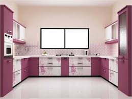 Modular Kitchen Wall Cabinets Appliances White Laminate Countertops Red Refrigerator Gray