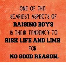 Raising Boys Meme - one of the scariest aspects of raising boys is their tendency to