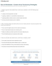 quiz u0026 worksheet content area vocabulary strategies study com