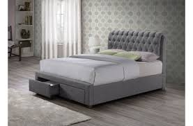 birlea valentino 4ft6 double grey fabric bed frame with 2 drawers