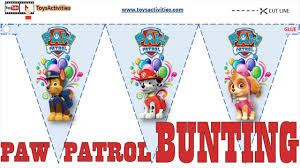 Printable Flags Paw Patrol Party Supplies Paw Patrol Party Flags U0026 Bunting