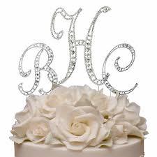 swarovski crystal monogram wedding cake topper set