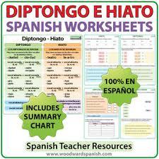 diptongo e hiato spanish worksheets by woodward education tpt