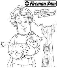 fireman sam rescueing beautiful cat tall tree coloring