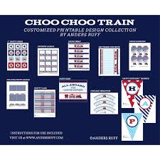 choo train birthday party printables collection red aqua