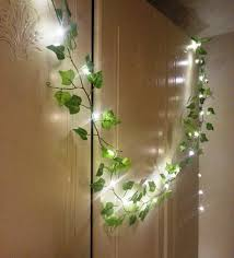 green leaf garland 2m with mini led string lights