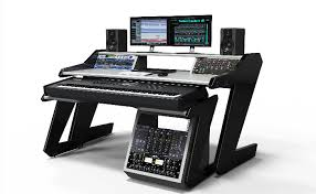 Music Studio Desk by Music Commander Black With Rack Tower With 20 U Space And Pull Out