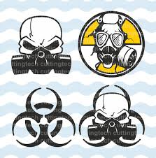 warning biohazard gas mask svg png cut files for use with