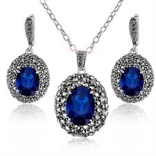 blue crystal necklace set images Buy retro marcasite jewelry set blue crystal jpg