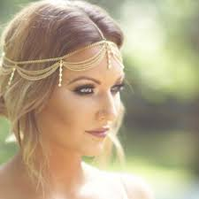 gold hair accessories boho gold draping hair cuff arabian bridal hair