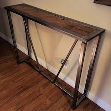 up this reclaimed wood and steel entry way table
