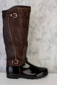 brown motorcycle shoes brown quilted high polish zipper detailing knee high snow boots