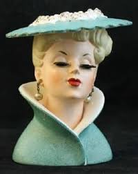 beautiful blue lady with pearls napco 1950s head vase i don u0027t