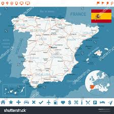 Spain Map World by Spain Map Flag Navigation Labels Roads Stock Vector 254163571