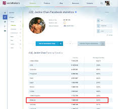 Social Bakers  Jackie Chan     s fans by Facebook stats