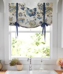 Blue And Yellow Curtains Prints Jacobean Floral Lined Tie Up Valance Country Curtains