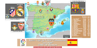 Spain Map Spain La Liga Clubs In The 2008 09 Season With 07 08 Attendance