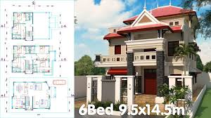 3 Story House Plan 9 5x14 5m With 6 Bedrooms
