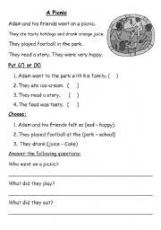 english teaching worksheets the picnic