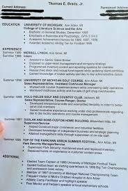 Football Resume Tom Brady Resume Circa 1999 Shows What Might Have Been
