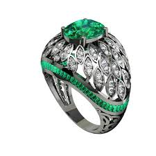 diamond stone rings images Vihaan jewels wedding wear diamond green stone ring rs 175000 jpg
