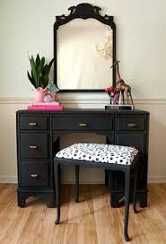 black makeup desk with drawers diy vanity make over spray painted my old black vanity matte grey