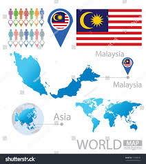 Asia World Map by Malaysia Flag Asia World Map Vector Stock Vector 151386152