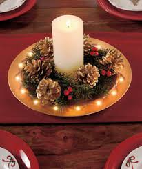 Gold Christmas Centerpieces - lighted red or gold holiday charger plate centerpiece decorative