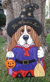 hand painted basset hound halloween yard art samantha the