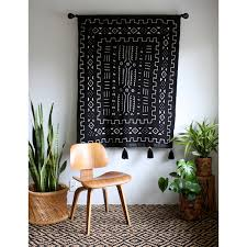 black mudcloth tapestry mud cloth wall hanging african mudcloth