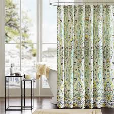 Shower Curtains With Matching Accessories Floral Accent Rounded Shower Curtain Using Chrome Curtain Hanger
