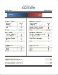 Opening Day Balance Sheet Template Opening Day Balance Sheet At Http Xltemplates Org