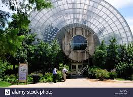 Okc Botanical Gardens by Couple At Rear Entrance To Myriad Botanical Garden Conservatory