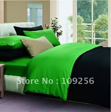 Solid Color Comforters Free Ship 100 Sateen Cotton Green Black Color Luxury Bedding Set