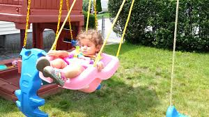 baby swing swing set my baby playing with her little tykes swing set youtube