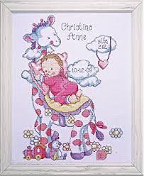 bucilla counted cross stitch birth record kit 10 by