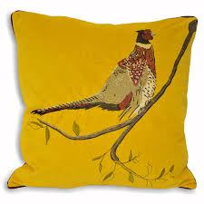paoletti hunter velvet pheasant cushion cover in mustard u2013 next