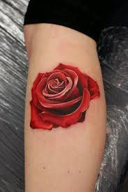 3d red rose tattoo on side leg