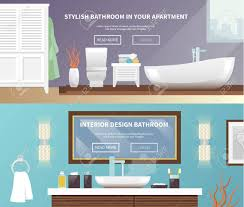 Elements Bathroom Furniture Bathroom Furniture Horizontal Banner Set With Stylish Apartment