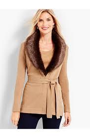 sweater with faux fur collar faux fur collar merino cardigan talbots