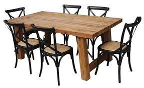 Cross Back Dining Chairs Kingwood 1 9m Dining Table With 6 Crossback Dining Chairs Black