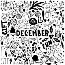 doodle christmas background unique vintage items new year