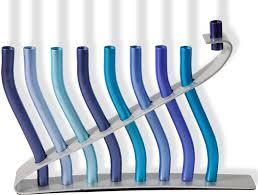 hanukkah menorah hanukkah gifts blue sticks aluminum hanukkah menorah
