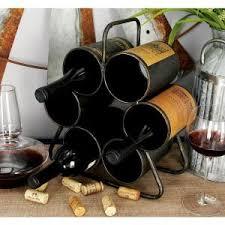 lone elm studios 3 bottle metal black wine rack with chalkboard